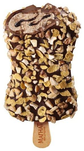 Мороженое Магнат Брюнетка грецкий орех с шоколадным топингом в шоколадно-ореховой глазури 82 г
