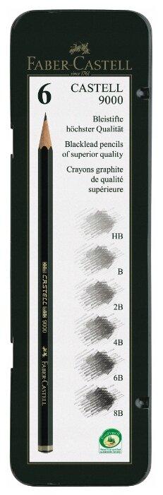 Faber-Castell Набор чернографитных карандашей серия 9000 6 штук (119063)