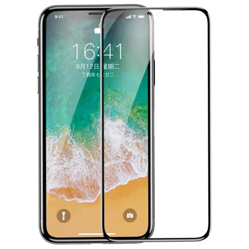Купить Защитное стекло Baseus 4D Curved Full Glue Silk Print Full Screen Tempered Glass Protector для Apple iPhone X черный