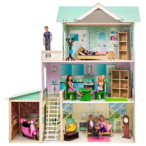 paremo кукольный домик эмилия романья с мебелью pd318 04 розовый голубой PAREMO кукольный домик Жозефина Гранд (с мебелью) PD318-13, голубой/зеленый/белый