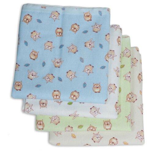 Многоразовые пеленки Чудо-Чадо Сыночку фланель 120х90 набор 4 шт. совушки