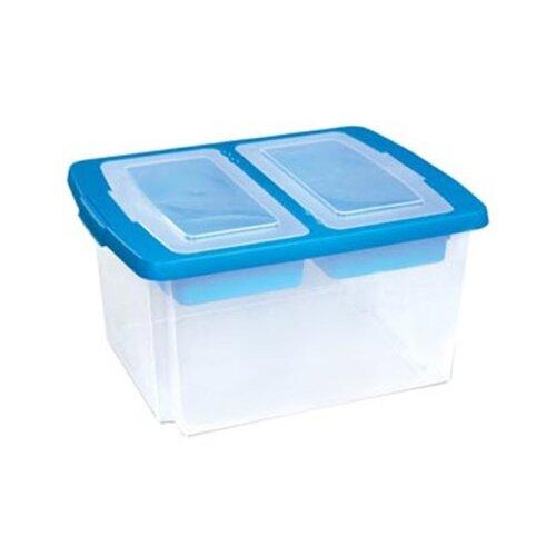 ПОЛИМЕРБЫТ Ящик универсальный 25x47x37 см прозрачный/синий