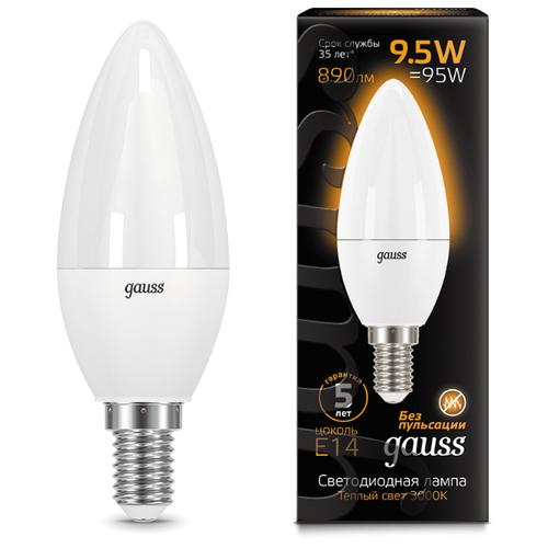 Лампа светодиодная gauss E14, C37, 9.5ВтЛампочки<br>