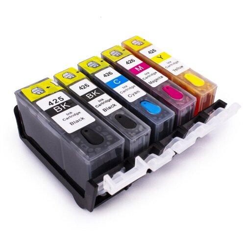 Комплект картриджей ПЗК PGI-425/CLI-426, 5 цветов (голубой, пурпурный, желтый, черный, фото черный), для струйного принтера, совместимый