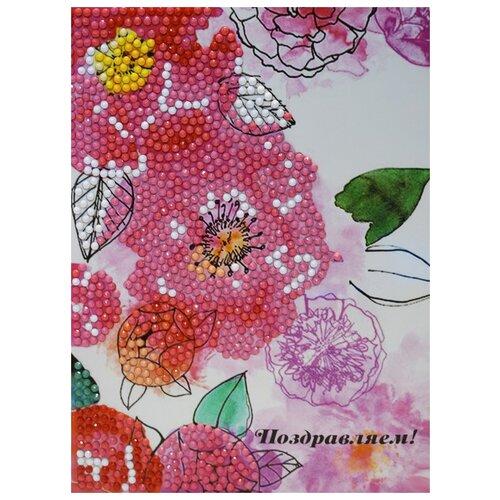 Купить Алмазная открытка Color Kit с Цветами Поздравляем! 13х18 AZ010, Алмазная вышивка