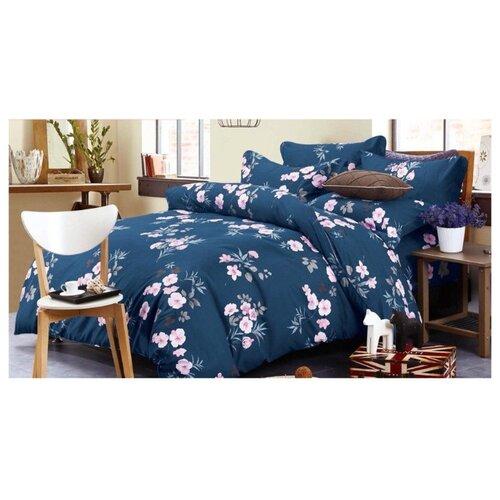 Постельное белье 2-спальное Boris Dense BORD017 сатин синийКомплекты<br>