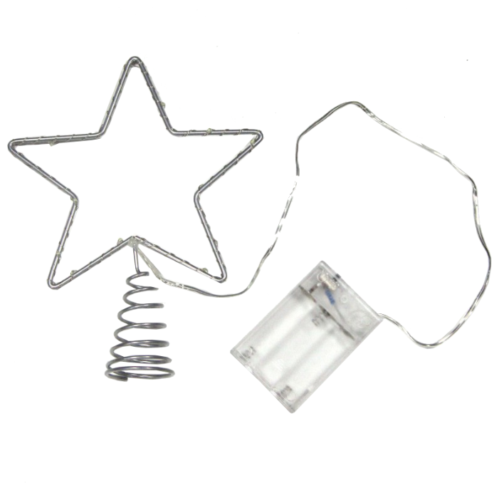 Snowhouse Светодиодная Звезда на елку 15 см холодная белая, mini LED лампы, на батарейках STS15-LDM15-W-BO