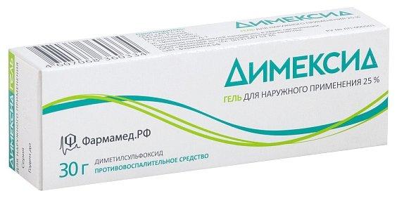 Димексид гель д/наруж. прим. 25% туба 30г