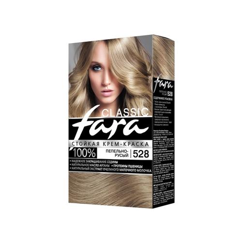 Fara Classic Стойкая крем-краска для волос, 528, пепельно-русый fara classic стойкая крем краска для волос 500 блондор