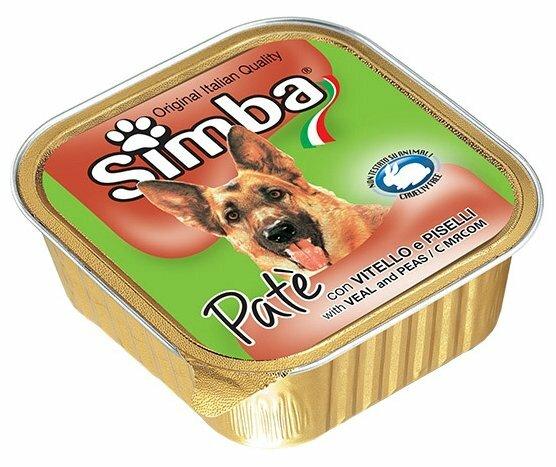 Корм для собак Simba Паштет для собак Телятина и горошек (0.3 кг) 1 шт.