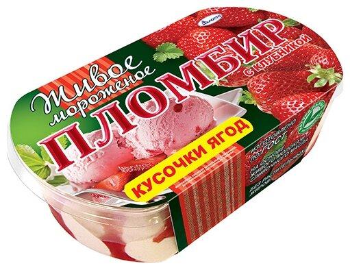 Мороженое пломбир Талосто Живое Мороженое ваниль-клубника 450 г, 450 г.