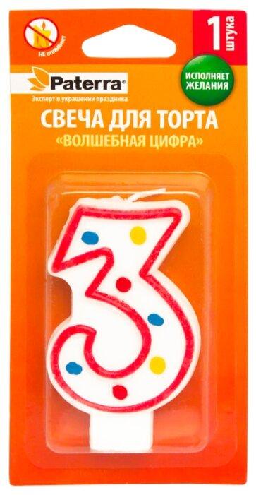 Paterra Свеча для торта Волшебная цифра 3 белый/красный