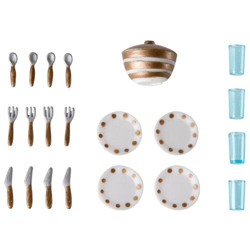 Купить Набор посуды Lundby Набор столовой посуды LB_60509400 белый/золотой, Игрушечная еда и посуда