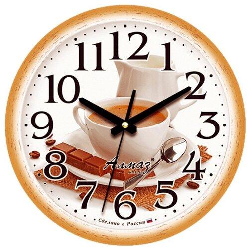 Часы настенные кварцевые Алмаз E18 коричневый/белый часы настенные кварцевые алмаз c51 c54 коричневый белый