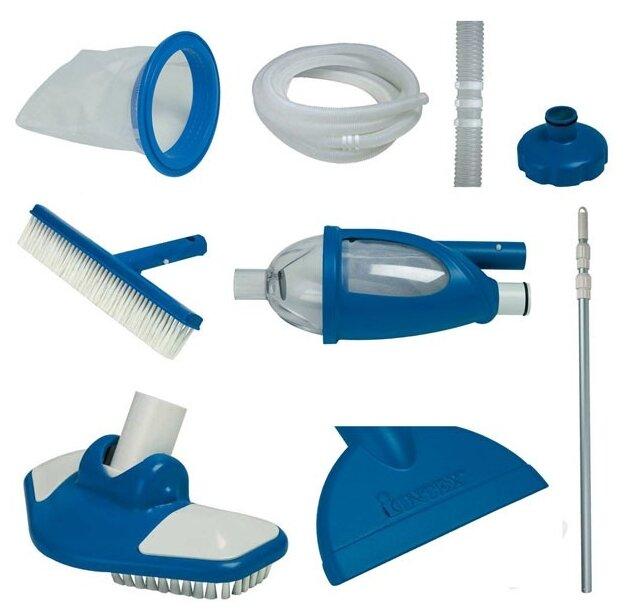 Intex, Набор для чистки бассейна от 549 см (ручка 279 см, сачок, пылесос, щетка, шланг), 28003