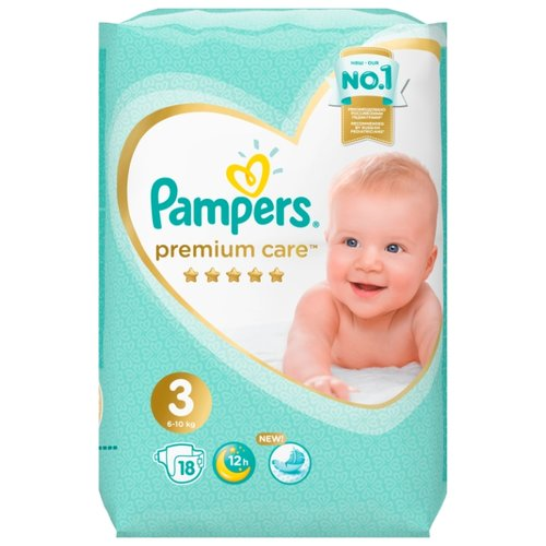 Pampers подгузники Premium Care 3 (6-10 кг) 18 шт., Подгузники  - купить со скидкой
