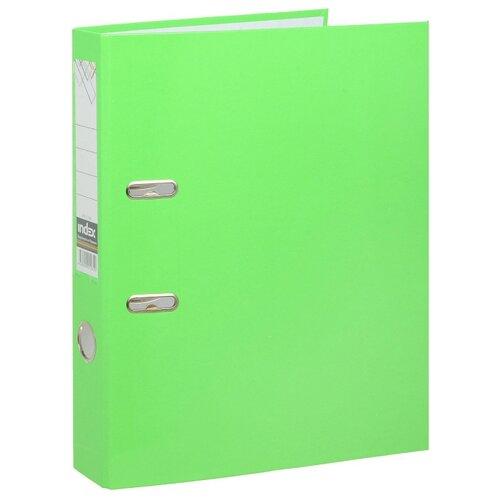 Купить Index Папка-регистратор COLOURPLAY А4, 80 мм, ламинированная, неоновая Неоновый зеленый, Файлы и папки