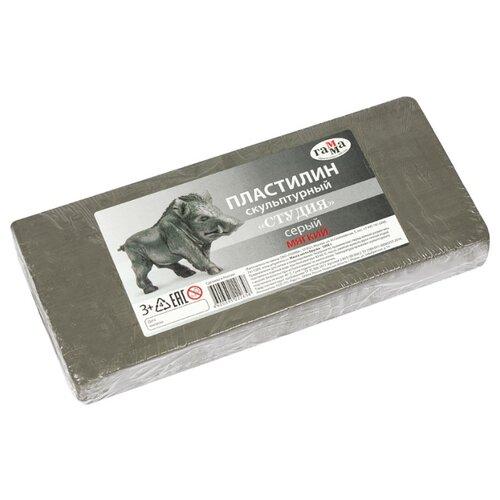 Купить Пластилин ГАММА Студия мягкий серый 1000 г (2.80.Е100.004.2), Пластилин и масса для лепки