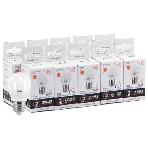 Упаковка светодиодных ламп 10 шт gauss 53210, E27, 10Вт упаковка светодиодных ламп 10 шт gauss 53210 e27 10вт