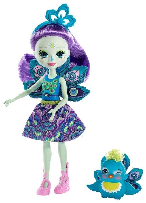 Кукла Enchantimals Пэттер Павлина с любимой зверюшкой, 15 см, FXM74