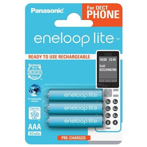 Аккумулятор Ni-Mh 550 мА·ч Panasonic eneloop lite DECT AAA, 3 шт. аккумулятор ni mh 550 ма·ч panasonic eneloop lite dect aaa 3 шт блистер