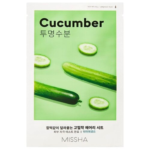 Missha Airy Fit Sheet Mask Cucumber увлажняющая и тонизирующая тканевая маска с экстрактом огурца, 19 г