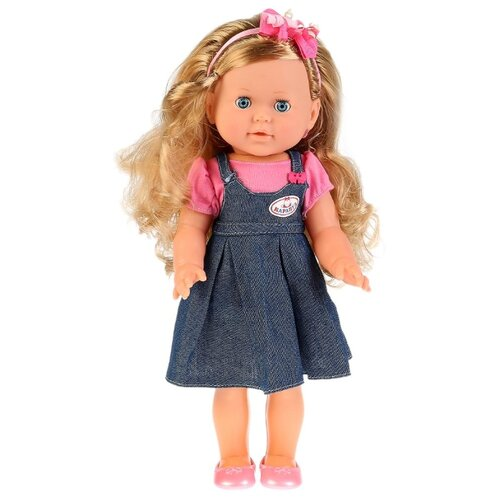 Купить Кукла Карапуз Дарья в джинсовом сарафане, 35 см, POLI-24-A-RU, Куклы и пупсы