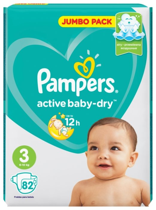 Pampers подгузники Active Baby-Dry 3 (6-10 кг) 82 шт.