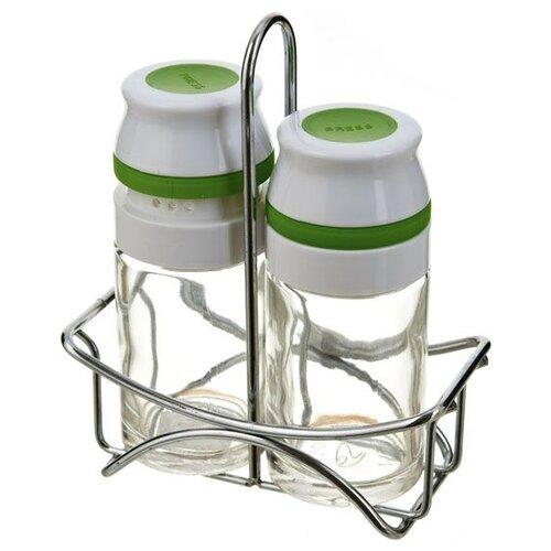 Sinoglass Набор для специй Easy press прозрачный/белый/зеленыйСолонки, перечницы и емкости для специй<br>