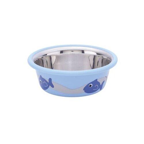 Миска Nobby c резиновым основанием 250 мл голубой/рыбки