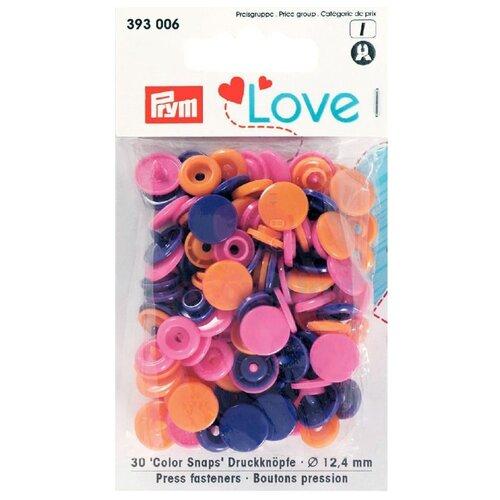Купить Prym Кнопки непришивные Love - Color Snaps 393006, оранжевый/ярко-розовый/фиолетовый, 12.4 мм, 30 шт.
