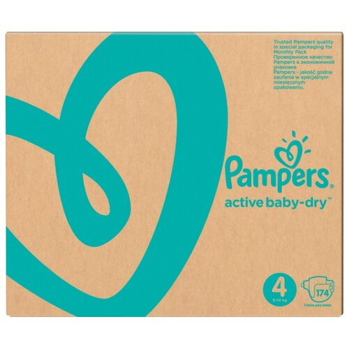Pampers подгузники Active Baby-Dry 4 (9-14 кг) 174 шт. подгузники pampers active baby dry 5 11 16 кг 60 шт