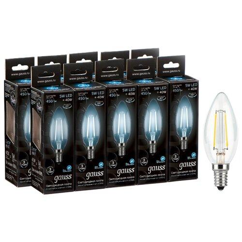 Упаковка светодиодных ламп 10 шт gauss 103801205, E14, 5Вт упаковка светодиодных ламп 10 шт gauss 13626 gu10 r50 5 5вт
