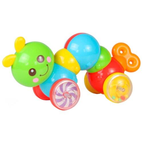 Каталка-игрушка Huile Plastic Toys Гусеница (Y1567385) зеленый/голубой/красный