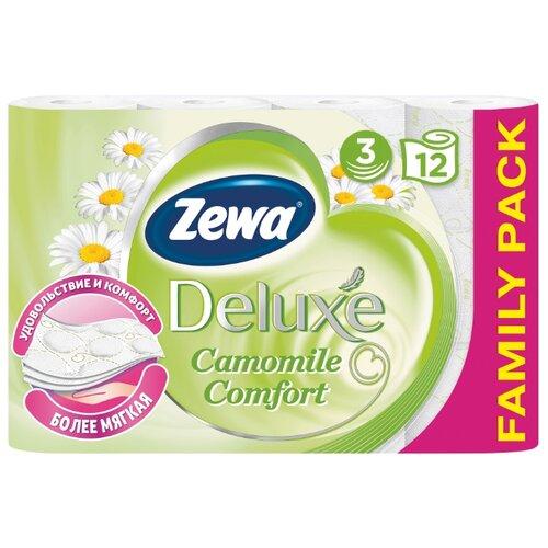 Туалетная бумага Zewa Deluxe Ромашка трёхслойная, 12 рул.Туалетная бумага и полотенца<br>