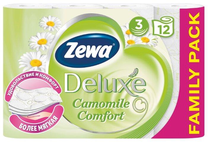 Туалетная бумага Zewa Deluxe Ромашка трёхслойная, 4 рул.