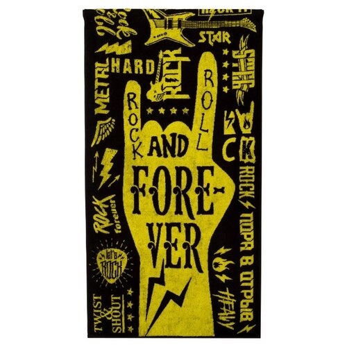 Этель полотенце Rock-n-Roll 70х130 см желтый/черный