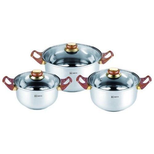 Набор кастрюль Rainstahl 1230-06RS/CW BK/WD/MRВ 6 пр. wood набор посуды rainstahl 6 предметов 1616 06rs cw