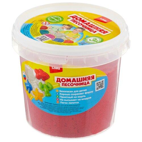 Купить Кинетический песок LORI Домашняя песочница, красный, 1 кг, пластиковый контейнер