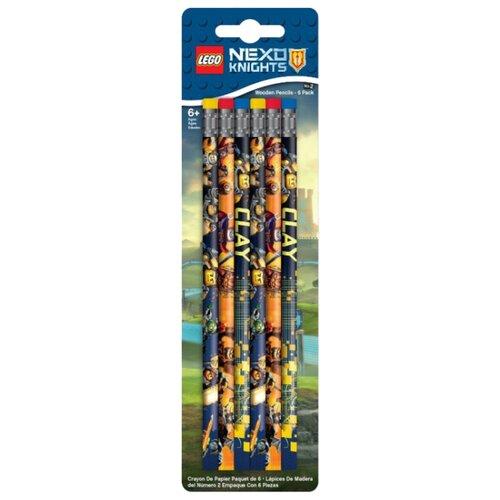LEGO Набор чернографитных карандашей Nexo Knights (Рыцари Нексо) 6 шт с ластиком (51546) lego набор чернографитных карандашей ninjago ниндзяго 2 шт 51864