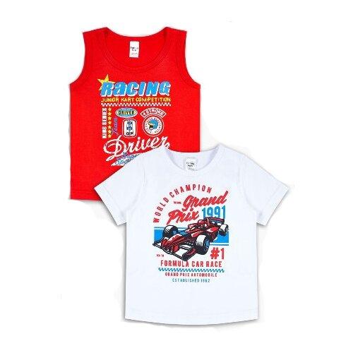 Комплект одежды Веселый Малыш размер 104, белый/красный платье oodji ultra цвет красный белый 14001071 13 46148 4512s размер xs 42 170