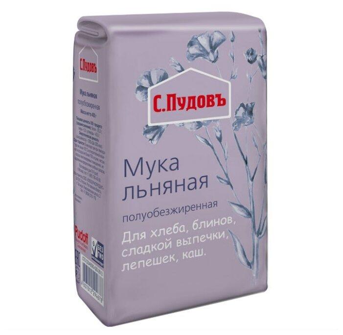 Мука С.Пудовъ льняная полуобезжиренная, 0.4 кг