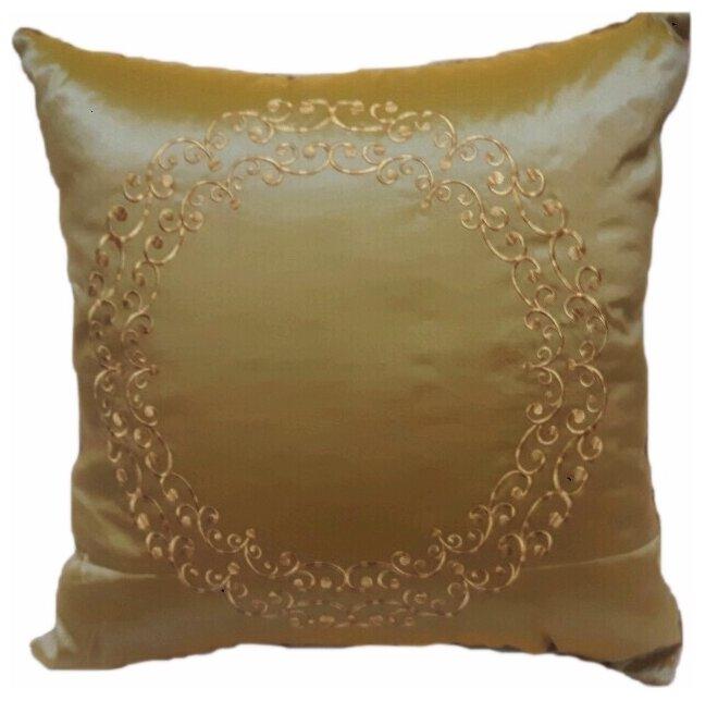 Подушка декоративная с вышивкой и кантом FLAUM HOME/флаум хоум, золото, 50х50
