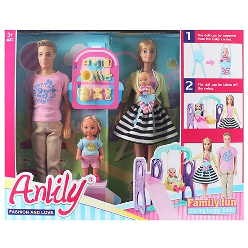 Купить Набор кукол Shantou Gepai Anlily Семья на прогулке 99229, Куклы и пупсы