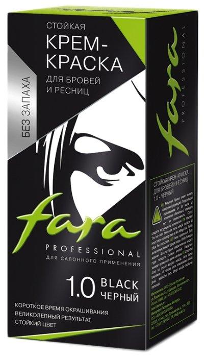 Fara Крем-краска для бровей и ресниц, тон 1.0 черный, 30 мл