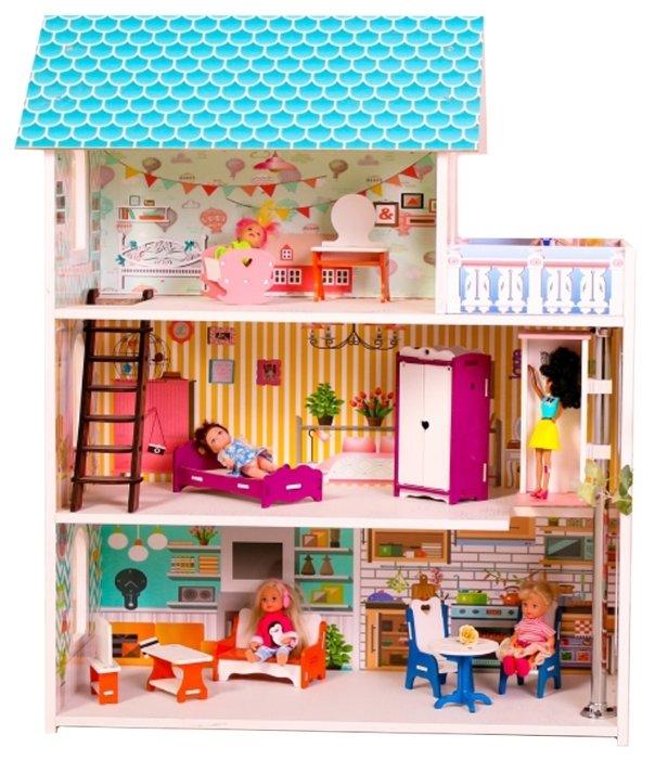SunnyToy кукольный домик Бирюзовый подарок мини