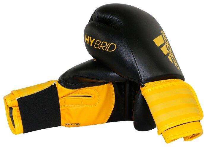Боксерские перчатки adidas Hybrid 100 черный/золотистый 10 oz