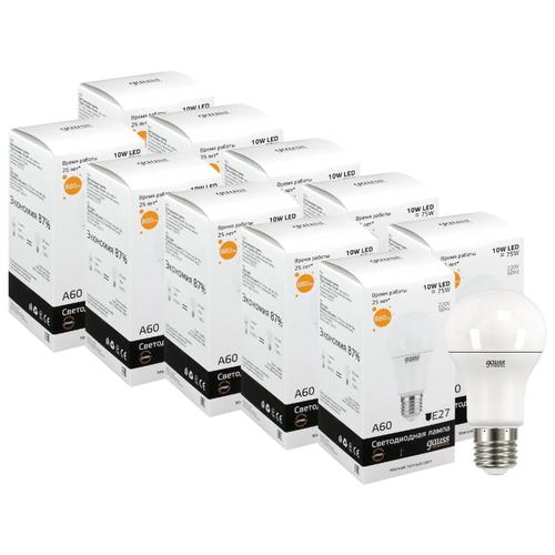 Упаковка светодиодных ламп 10 шт gauss E27, A60, 10ВтЛампочки<br>