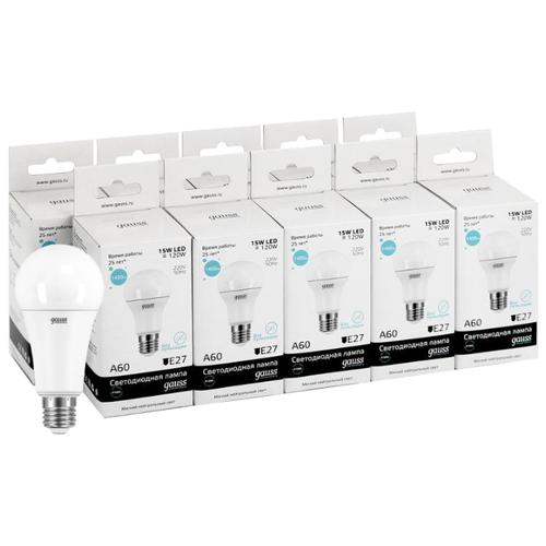 Упаковка светодиодных ламп 10 шт gauss E27, A60, 15 Вт, 4100 КЛампочки<br>