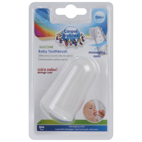 Купить Зубная щетка Canpol Babies cиликоновая 56/159 0+, белый, Гигиена полости рта